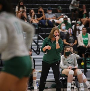 Waxahachie head volleyball coach Sandy Faussett-Stoops gives instructions during a 2020 district home match against Waco Midway. The Lady Indians open the new season on Tuesday at Burleson Centennial.