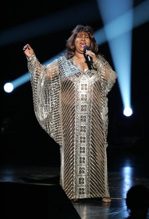 Aretha Franklin performs onstage at the Tony Awards at Radio City Music Hall on June 5, 2005 — the period when she began exploring a movie and Broadway show based on her life.