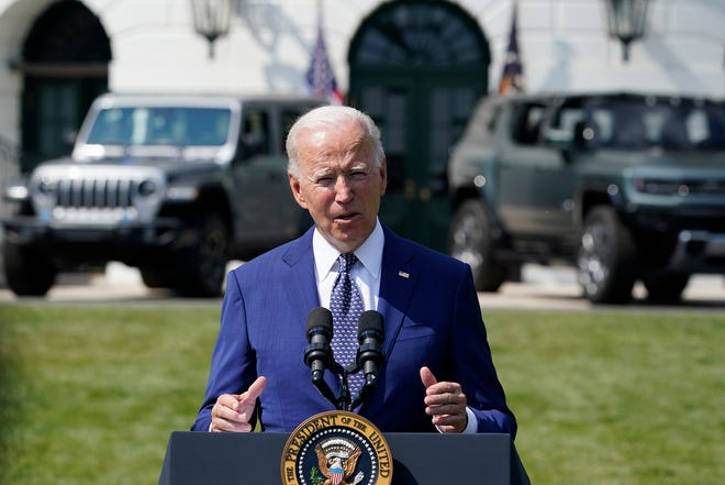 President Joe Biden speaks on the South Lawn of the White House in Washington on Aug. 5, 2021, during an event on clean cars and trucks.