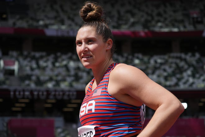 Purdue's Kara Winger, who competed in the women's javelin, has received the honor of carrying the U.S. flag during closing ceremonies of the Tokyo Olympics. Mandatory Credit: Kirby Lee-USA TODAY Sports.