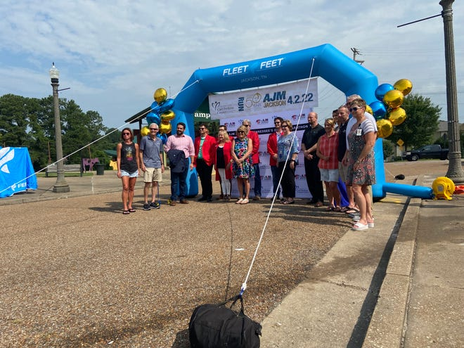 Leadership with the Andrew Jackson Marathon and supporters from the City of Jackson and The Jackson Chamber celebrated the kickoff of registration for the 50th marathon coming up in April of 2022.