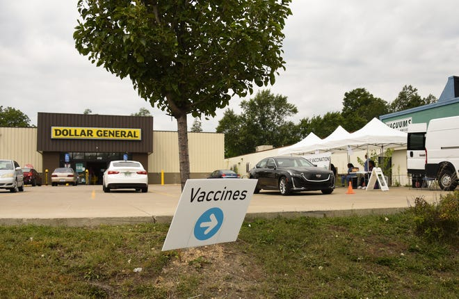 A COVID-19 vaccination site set up The Dollar General in the 2700 block of South Cedar Street.  Guests may drive-thru or walk in.