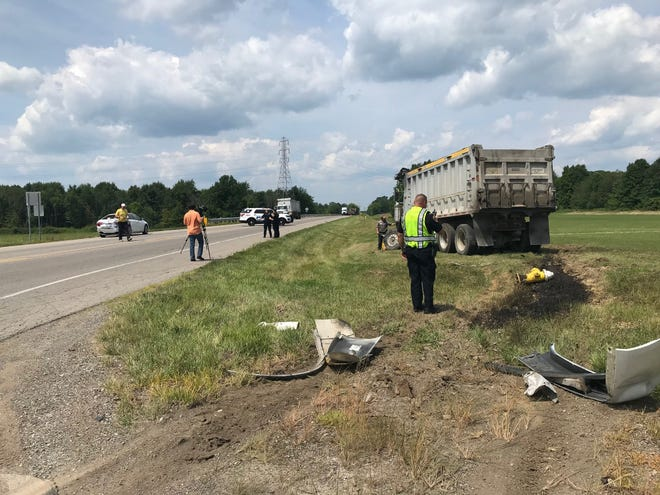 One person was transported to a hospital after a dump truck struck the rear of a stopped vehicle Friday on West Fourth Street at Rock Road, according to Ontario police.
