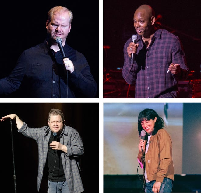 Among the star comedians who have announced new Milwaukee shows in recent months (from top left): Jim Gaffigan, Dave Chappelle, Melissa Villaseñor and Patton Oswalt.