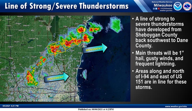 A line of strong thunderstorms was moving through southern Wisconsin early Friday evening.