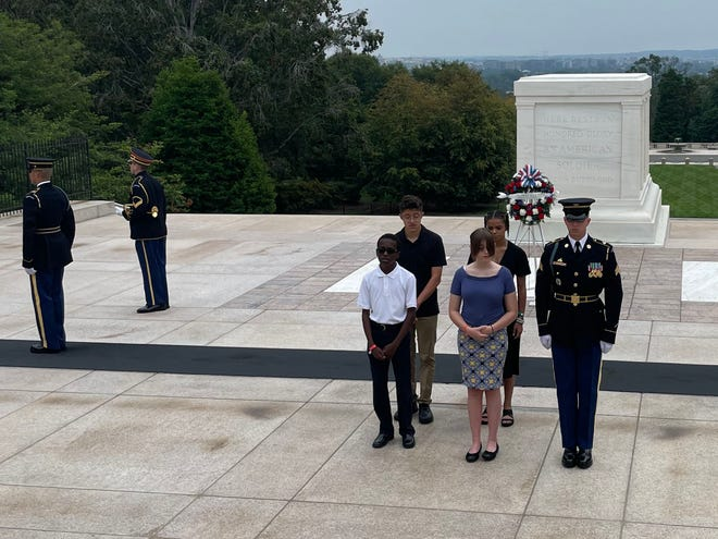 Four Las Cruces students – Marco Silva, Abbey Road Charity, Pierre Williams and Maya Gaytan– were chosen to participate in the wreath-laying ceremony on the Tomb of the Unknown Soldier atArlington National Cemetery in Washington, D.C., on Sunday, July 22, 2021.
