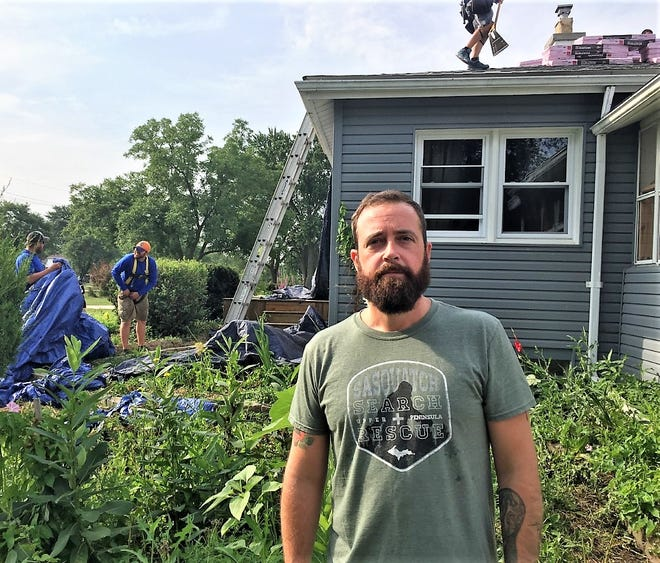 Canton resident and United States Army veteran Carson Middlebrook was beyond appreciative for the new roof that was installed without charge by a contingent of construction firms.