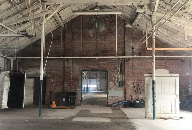 A view of the brick work and wooden structure in the interior of the old Gibralter manufacturing building on Military Street on Friday, Aug. 6, 2021, in Port Huron. The building was purchased by Mark Walker under 3592 Military LLC in March. No plans are set to redevelop it.