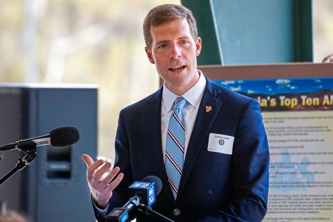 In this file photo from April 27, 2021, U.S. Rep. Conor Lamb, D-Pa., speaks at a dedication for a facility intended to improve water quality in McDonald, Pa. Lamb said Friday, Aug. 6, 2021, he is running for Pennsylvania's open Senate seat, joining a crowded Democratic field in one of the nation's most competitive races. (Andrew Rush/Pittsburgh Post-Gazette via AP, File)