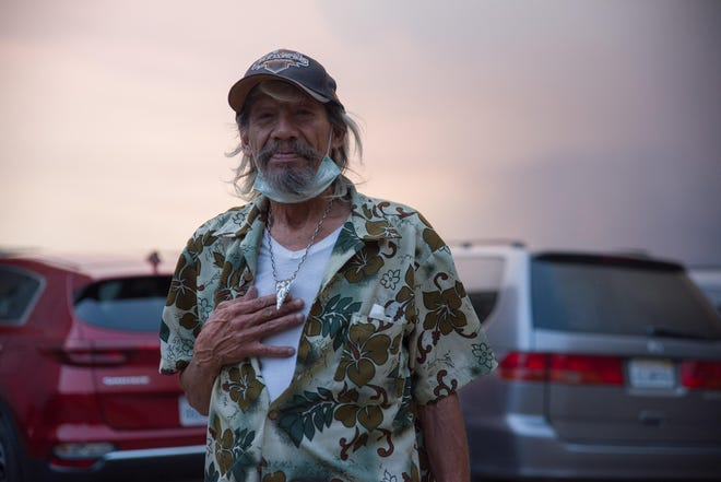 Mark Leon, a Dixie Fire evacuee, poses for a portrait in Quincy, Calif., on Aug. 5, 2021.