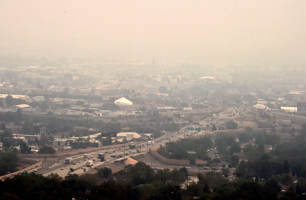 Downtown Reno is covered in smoke from the Dixie Fire in California on August 6, 2021.