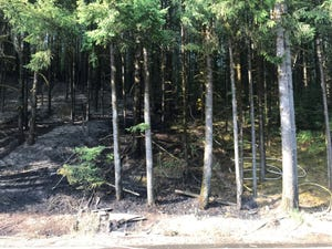 A brush fire west of Grand Ronde closed Highway 18 Thursday evening.