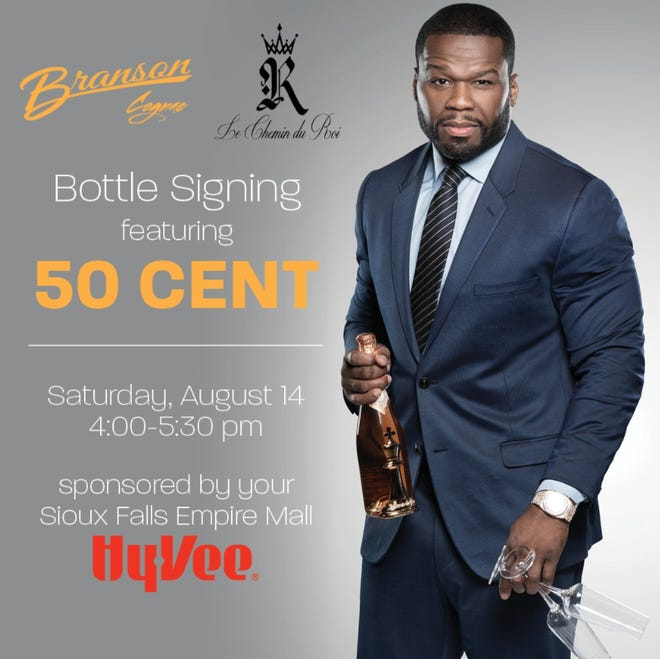 Rapper 50 Cent has gotten into the liquor business, and will be signing bottles next weekend in Sioux Falls Hy-Vee