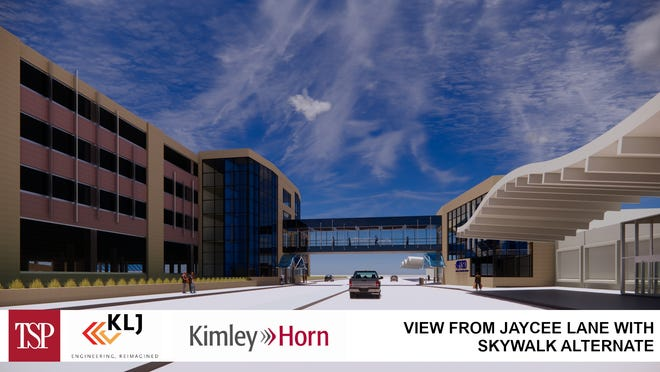 A rendering of the Sioux Falls Regional Airport's parking garage and skywalk