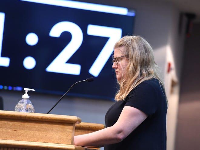 Nadine Gergel-Hackett speaks to the Augusta County School Board Thursday night, Aug, 5, asking members to make masks mandatory to start the school year.