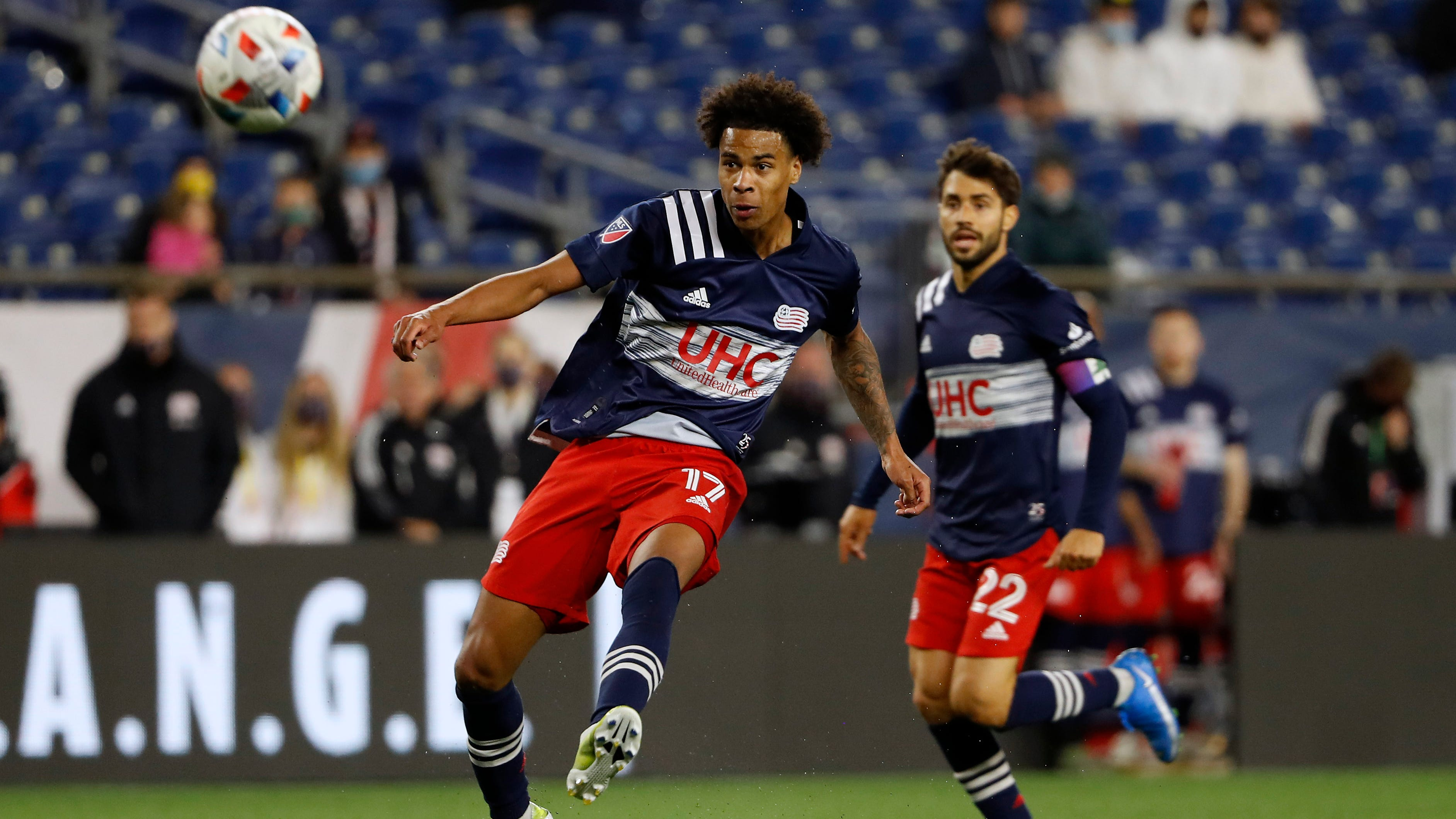 Tajon Buchanan (17) has been a key contributor for a New England Revolution team that currently atop the Eastern Conference standings.