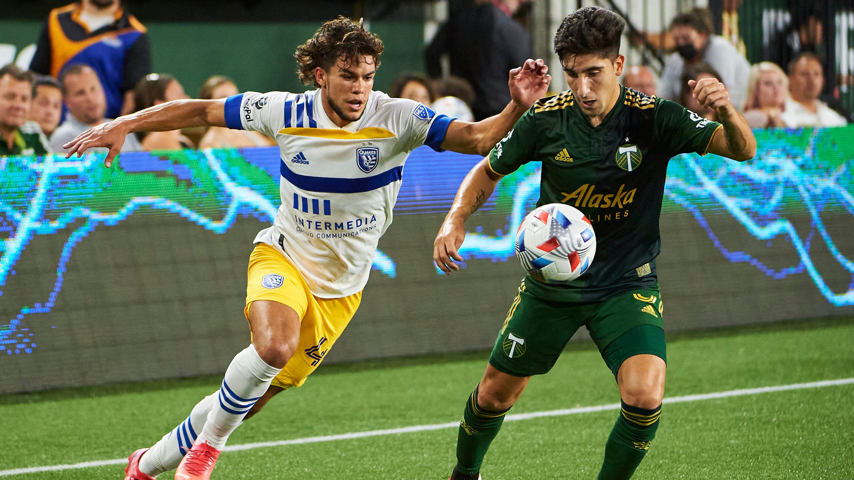 The San Jose Earthquakes' 17-year-old forward Cade Cowell (44) was the youngest player named to the MLS All-star team.