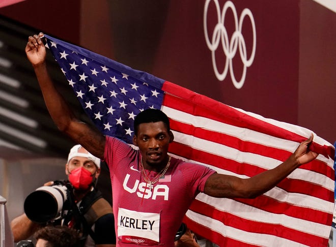 Fred Kerley of the United States celebrates after finishing second last Sunday in the men's 100-meter final at the Tokyo Olympics. Kerley, who hails from Taylor, just outside Austin, is one of America's rising young track stars.