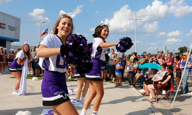 Early Longhorn cheerleaders were area cheer squads who performed routines at the Bruner Community Pep Rally Friday at the Bruner Auto Group.