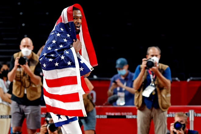 United States forward Kevin Durant scored a team-high 29 points in the gold-medal game against France. It was the 32-year-old's third gold medal.