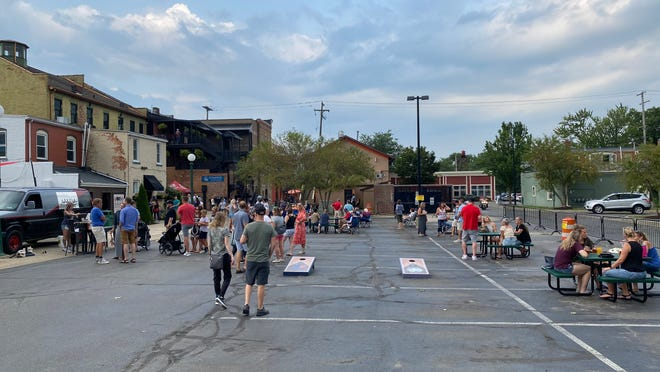 """The Aug. 6 """"thank you"""" party for frontline workers in Tecumseh was the first to take advantage of the city's social district, which includes common areas in the downtown parking lots."""