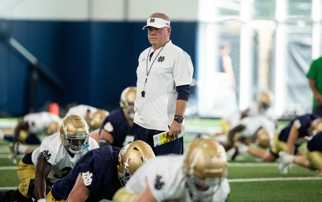 Notre Dame head coach Brian Kelly looks on during fall camp practice No. 1 on Saturday, August 7, 2021, at the Irish Athletics Center.