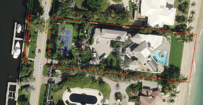 An ocean-to-lake estate in Manalapan at 1200 S. Ocean Blvd., outlined in red in this aerial photo, has sold for a recorded $25.75 million in an off-market deal.