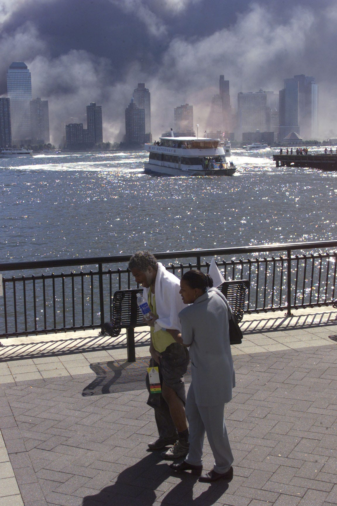 This photo was taken at Exchange Place in Jersey City, just across the Hudson River from the WTC on Sept. 11, 2001.