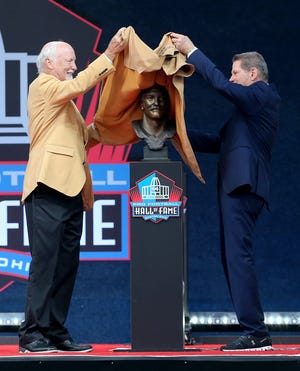 Cliff Harris was enshrined in the Pro Football Hall of Fame at Tom Benson Hall of Fame Stadium on Saturday, August 7, 2021. Harris was presented by his Cowboys teammate Charlie Waters.
