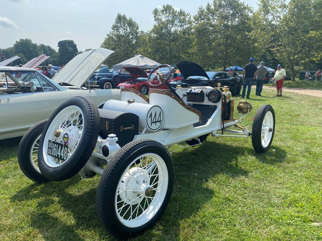 A 1916 Model T Ford Speedster sits at the Greater Alliance Carnation Festival auto show on Saturday, August 7, 2021.