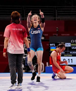 Aug 7, 2021; Chiba, Japan; Granger native Sarah Hildebrandt (USA) celebrates after defeating Oksana Livach (UKR) in the women's freestyle 50kg bronze medal match during the Tokyo 2020 Olympic Summer Games at Makuhari Messe Hall A.