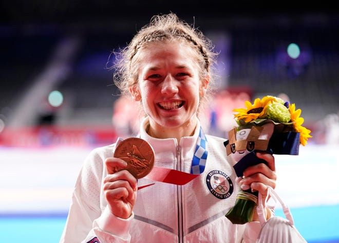 Aug 7, 2021; Chiba, Japan; Granger native Sarah Ann Hildebrandt (USA) celebrates her bronze medal in the women's freestyle 50kg wrestling competition during the Tokyo 2020 Olympic Summer Games at Makuhari Messe Hall A.