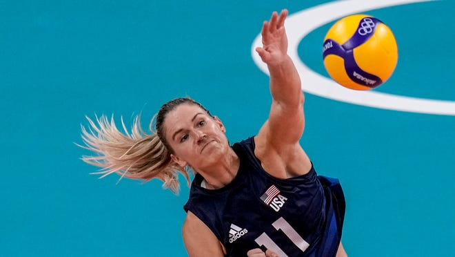 United States' Annie Drews during the women's volleyball semifinal match between Serbia and United States at the 2020 Summer Olympics, Friday, Aug. 6, 2021, in Tokyo, Japan. (AP Photo/Manu Fernandez)