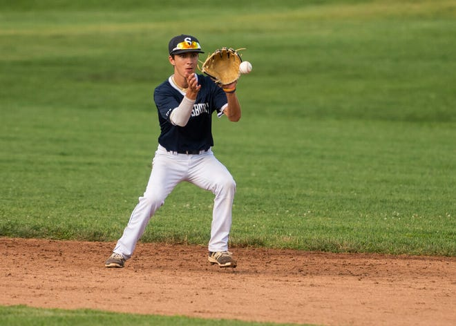 Shrewsbury's A.J. Hamm, shown in a game last season, had a double, triple and four RBIs during Saturday's loss to Hamburg, N.Y., at the American Legion Northeast Regionals.
