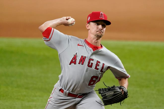 Los Angeles Angels relief pitcher Austin Warren, seen here on Aug. 4, picked up his first MLB win Friday night at Dodger Stadium.