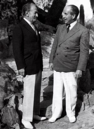 Two dapper New York gents. Samuel Untermyer and John Jakob Raskob (right) strike a stylish pose on the steps of The Willows, February 9, 1934.
