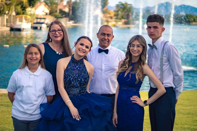 A group photo of the Maldonado family from left to right: Devin, Crystal, Cailyn, Aaron, Alyssa and Brenden.