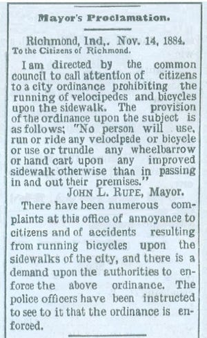 This Nov. 14, 1884 news snippet attests that bicyclists were a nuisance on the sidewalks of Richmond in the late 19th century.