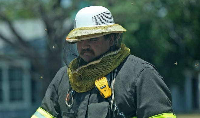 Bees fly around the head of a SAFD firefighter at the scene of a bee swarm on the 2300 block of Webster Ave. on Saturday, Aug. 7, 2021.