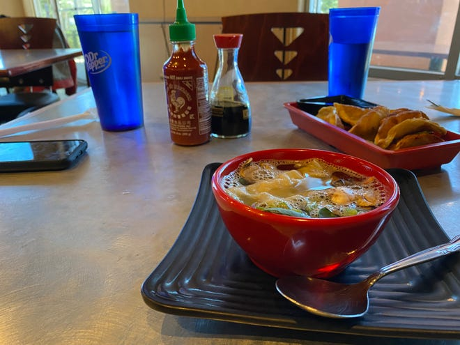 Ahi's Taste of Asia wonton soup and potstickers