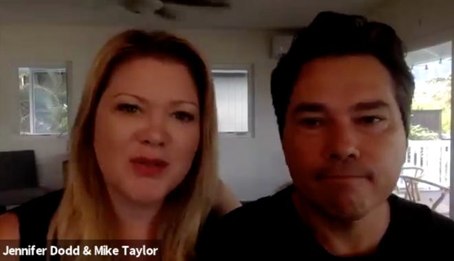 Jennifer Dodd and Mike Taylor speak from their home in Hawaii during a Sunday Zoom call. They moved away from Texas last year due to proposed legislation affecting transgender people, including their son.