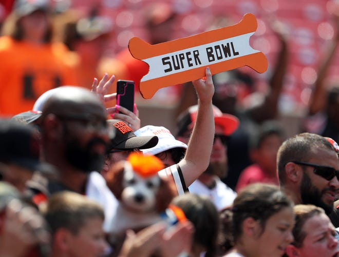 An optimistic Browns Fan holds up a Super Bowl sign during the Orange and Brown practice at FirstEnergy Stadium, Sunday, Aug. 8, 2021, in Cleveland, Ohio.