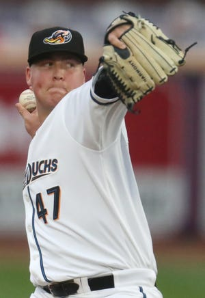 RubberDucks starting pitcher Peyton Battenfield made his first start on Saturday after being acquired by Cleveland in a trade with the Tampa Bay Rays at the trade deadline. [Mike Cardew/Beacon Journal]