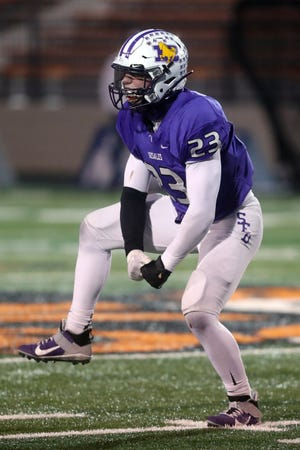 DeSales' Max Shulaw flexes after making a defensive stop during the Division III state championship game loss to Chardon last season. Shulaw, a sophomore, started four games last fall at linebacker and finished fourth on the team in tackles with 64.
