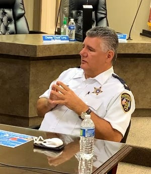Ascension Parish Sheriff Bobby Webre discusses body cameras and community issues Aug. 3 at Donaldsonville City Hall.