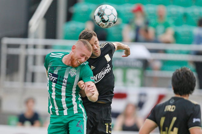 OKC Energy FC's Aiden Daniels (left), shown here in a game against Tulsa in July, scored two goals Saturday during the Energy's 4-1 win over Memphis at Taft Stadium.
