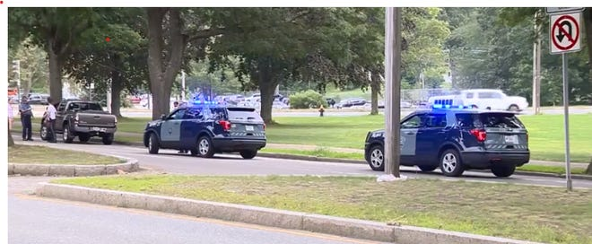 State troopers investigate a reported road rage stabbing on VFW Parkway in West Roxbury on Saturday, Aug. 7, 2021. (WCVB)