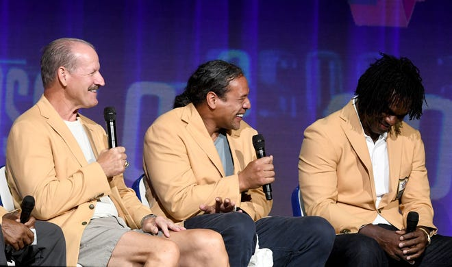 The Class of 2020, including Bill Cowher, Troy Polamalu and Edgerrin James participate in The 2021 Pro Football Hall of Fame Enshrinees' Roundtable at Canton Memorial Civic Center Sunday, August 8, 2021.