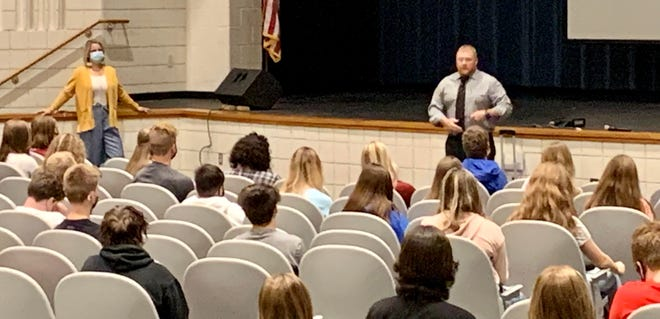 OVHS Principal Robert Boltinghouse is pictured above welcoming the freshman class on their first day of high school during their class meeting. More back-to-school photo for S-OCS students are featured in today's SEW.