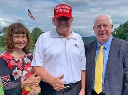 Massachusetts Republican Party Chairman Jim Lyons, right, pictured in New York on Thursday with former President Donald Trump and Lyons' wife, Bernadette.